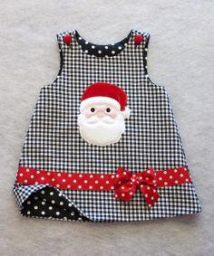Black & White Shepherd's Check Santa Jumper - Infant & Toddler