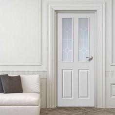 JBK Canterbury 2 Pane Top Light Door with Etched Safety Glass. #glazedinternladoor #whiteglazeddoor #whitetraditionaldoor