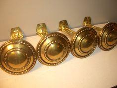 4 Vintage Curtains Drapery Brass Madallian Tie Backs Holders Metal Hardware | eBay