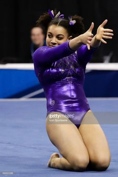 Washingtons Maya Washington performs her floor routine during the NCAA Gymnastics Women's National Championship Semifinal 1 on April 14, 2017, at Chaifetz Arena in St. Louis, MO.