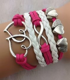 Fuschia 5 Layer Infinity Heart Bracelet Set