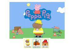 Sr. Bull ( Peppa Pig ) construye una casa. Cuento con pictogramas Arasaac.  quiero-compartir