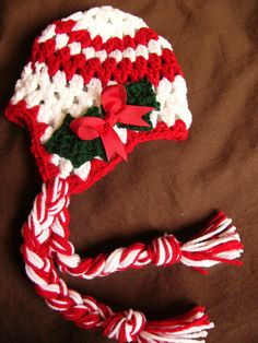 Crochet Christmas Hat with ear flaps- Crochet size 2T to 4T  childs Hat- Photography Prop - Cute Hat - Christmas Hat. $20.00, via Etsy.