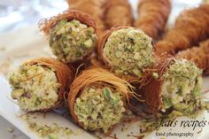 kataifi cones recipe with pistachios and cream