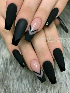 The Most Beautiful Black Winter Nails Ideas - Here are some cute winter nail designs between black and silver glitter nails, black and gold glitter nails, and black marble nails designs. Acrylic Nail Designs Coffin, Black Acrylic Nails, Black Coffin Nails, Square Acrylic Nails, Black Nail Designs, Best Acrylic Nails, Summer Acrylic Nails, Summer Nails, Pink Coffin