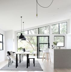 Today's home inspo / lights & window frames? Now that's a thought we love. Home of via Home Interior Design, Interior Styling, Interior Architecture, Interior And Exterior, Interior Decorating, Interior Modern, Interior Lighting, Black Window Frames, Black Windows