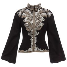 Alexander McQueen, Circa 2004 black zip front wool jacket embroidered with silver purl wire and elliptical sequined paillettes, mock collar, long bishop sleeves, dual welt pockets and fully lined. 40 US. Alexander Mcqueen, Sequin Jacket, Wedding Dresses For Girls, Embroidered Jacket, Vintage Jacket, Fashion Outfits, Womens Fashion, Indian Fashion, Fashion Trends