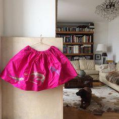 Silk Skirt handpainted lizard pattern fuchsia