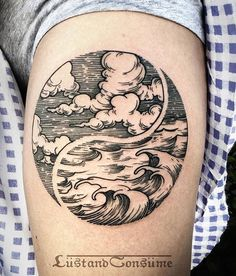 Waves and clouds Tattoo by LustandConsume on Instagram