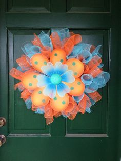 Spring wreath, summer wreath, flower wreath, orange and blue wreath, deco mesh wreath on Etsy, $35.00
