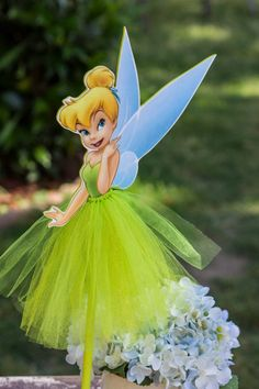 Tinkerbell Wood Centerpiece with tutu for by MarieRoseDecorations