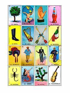 Carta de la lotería mexicana ideal para manualidades decoraciones de una fiesta mexicana