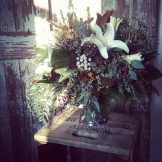 Rustic holiday centerpiece by LynnVale Studios