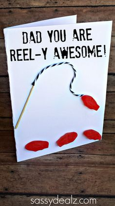 Swedish Fish Father's Day Card Idea - Sassy Dealz. Sentiments for a fishing card: Seas the day, there's nothing FISHY, there's no de-BAIT, from any ANGLE, you're great. You're one PRIZE CATCH, you're REEL-y fine, You're loved a lot and that's no LINE. No TROUT about it, you're great. Hope you like this birthday COD. I made this COD for you. Good things come to those who bait. Live life on the FLY. Dropping you a LINE. LURE the best.