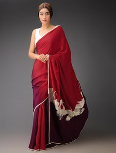 Buy Red Wine Big Crane Pallu Crepe Silk Parsi Gara Saree Sarees Woven Navroz Jubilation Embroidered Blouses Apparel & Clutches Online at Jaypore.com