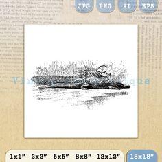 Crocodile Image Digital Printable Download by VintageRetroAntique
