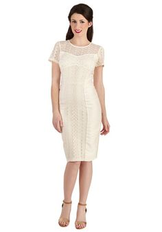 Ravishing Reflection Dress - Cream, Lace, Daytime Party, Shift, Short Sleeves, Better, Scoop, Long, Social Placements