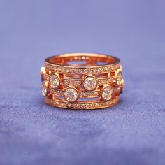 Hearts on Fie rose gold and diamond right hand ring.