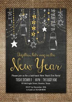 New Year's Invitation : Laid Back New Year's Party Chalk Board Design with Mason Jars