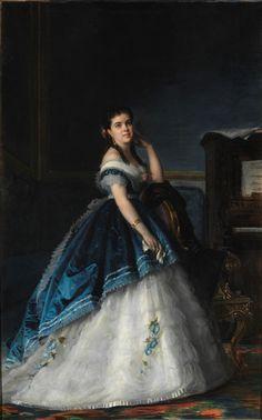 "history-of-fashion:  ""1865 Vicente Palmaroli y González - Hersilia Castilla  """