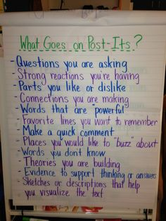 What goes on a Post-It? Anchor chart