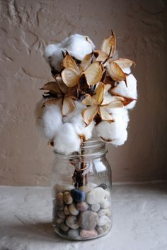 Cotton Bolls and Pods for Flower Arrangements, Accents, Centerpieces… Flowers Nature, Silk Flowers, Flowers Garden, Mason Jar Crafts, Mason Jars, Fall Decor, Holiday Decor, Woodsy Decor, Deco Floral