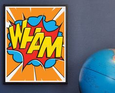 Wham Super Dynamic typography Wall Art for a boys by TheHipPear, $28.00, just what every little superhero wants.