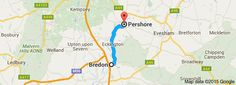 Map from Bredon, Worcestershire, UK to Pershore, Worcestershire, UK-----14 minutes, 7.2 miles.  Gotta love the Cotswolds!!
