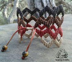 Macrame bracelet handmade jewelry cuff by LaughingBuddhaArt