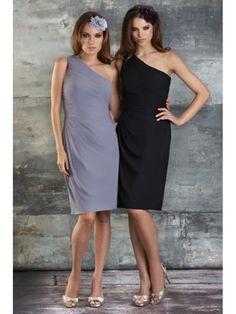 Sheath / Column One Shoulder Knee Length / Short Chiffon Bridesmaid / Wedding Guest Dresses 501146