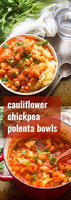 A hearty mix of cauliflower and chickpeas is simmered up in smoky, spicy sauce and served over creamy polenta to make these scrumptious and comforting vegan bowls.