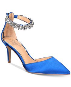 4a423677d0c Jewel Badgley Mischka Audrey Embellished Ankle Strap Evening Pumps