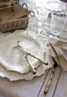 white linen and dinnerware