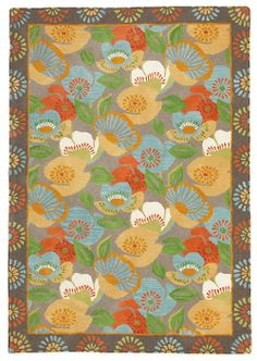 Poppies Rug in Driftwood (border Pattern, Rug Sample) | Handmade Area Rugs from Company C (New)