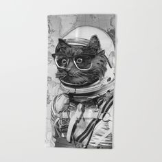 Space Kitten Beach Towel