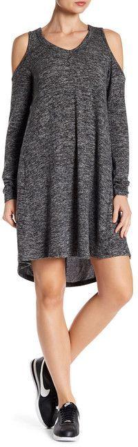 Poof Long Sleeve Cold Shoulder Dress