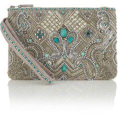 Accessorize Essoueria Beaded Zip Top Clutch Bag