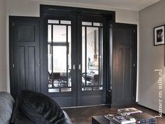 make a statement with black pocket doors Living Room Inspiration, Interior Inspiration, Black Exterior Doors, Partition Door, Dark Doors, Wooden Main Door Design, Style Deco, Pocket Doors, Luxury Kitchens