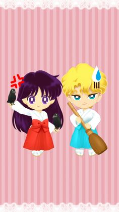When Rei ordered Jadeite to sweep the floor of the shrine grounds. Wallpaper Fanmade Rei(miko) & Jadeite(priest) from Sailor Moon Drops Sailor Moon Cakes, Sailor Moon Villains, Arte Sailor Moon, Sailor Moon Fan Art, Sailor Moon Character, Sailor Chibi Moon, Sailor Mars, Sailor Jupiter, Sailor Venus