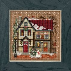 Items similar to Mill Hill Kit - Cobbler - Christmas Cross Stitch Kit - Mill Hill Cross Stitch, Christmas Village Beaded Cross Stitch Kit on Etsy Cross Stitch House, Cross Stitch Needles, Beaded Cross Stitch, Counted Cross Stitch Kits, Cross Stitch Embroidery, Cross Stitch Patterns, Loom Patterns, Learn Embroidery, Embroidery Kits