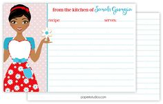 Personalized retro recipe cards, set of 25 double sided 4x6 recipe cards for bridal showers or housewarming gift - dark skin by PaperKStudios on Etsy