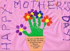 Fun Handprint and Footprint Art : 14 Handprint Flower Crafts for Mother's Day {Round Up Mother Poems, Mothers Day Poems, Art For Kids, Crafts For Kids, Arts And Crafts, 3 Kids, Classroom Crafts, Preschool Crafts, Spring Crafts