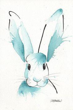 Flemish Giant Rabbit Watercolour Painting by Kelsey Emblow