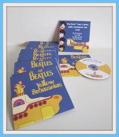 Convite personalizado em formato de capa de CD dos Beatles com Cd com as prediletas do  aniversariante.Rock and Roll! R$9,50