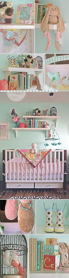 cute girl room. this is the same furniture we have for ollie, but with vintage knobs. i like.