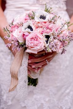 Pretty pink and white bouquet via Mountainside Bride
