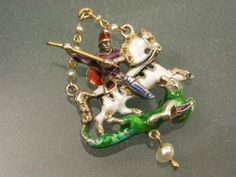 WELL-DETAILED-ANTIQUE-AUSTRO-HUNGARIAN-SILVER-ENAMEL-GEORGE-DRAGON-PENDANT