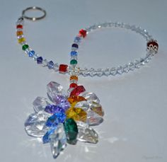 Large Rainbow Beaded Crystal Cluster Suncatcher