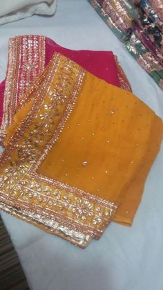 Fabric: Chiffon Bottom: Silk Dupatta: Chiffon Whatsapp: Price: 5200 RS + Shipping CASH ON DELIVERY within days after order confirmation Made in Pakistan Bridal Mehndi Dresses, Bridal Dupatta, Silk Dupatta, Gharara Designs, Sari Blouse Designs, Pakistani Wedding Outfits, Pakistani Dresses, Chiffon Saree, Saree Dress