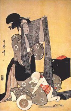 Women making dresses - Kitagawa Utamaro